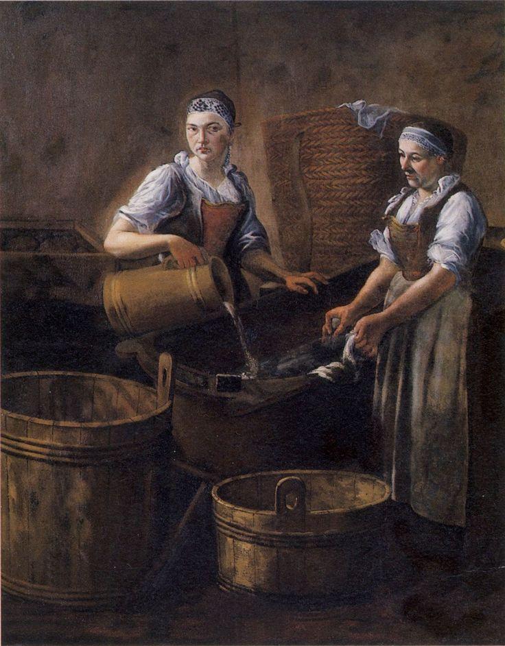 Václav Dvořák: Laundresses / Pradleny, 1716 - 1717, zámek Manětín, Česká republika