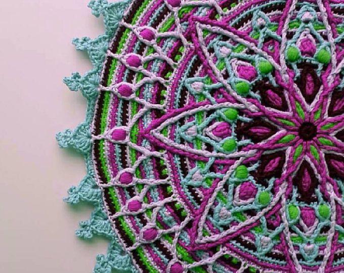 Overlay Crochet Mandala Pattern, Crocheted Home Decor, Fiber Art Wall Hanging, Decorative Crochet Doily Pattern, Textile Art
