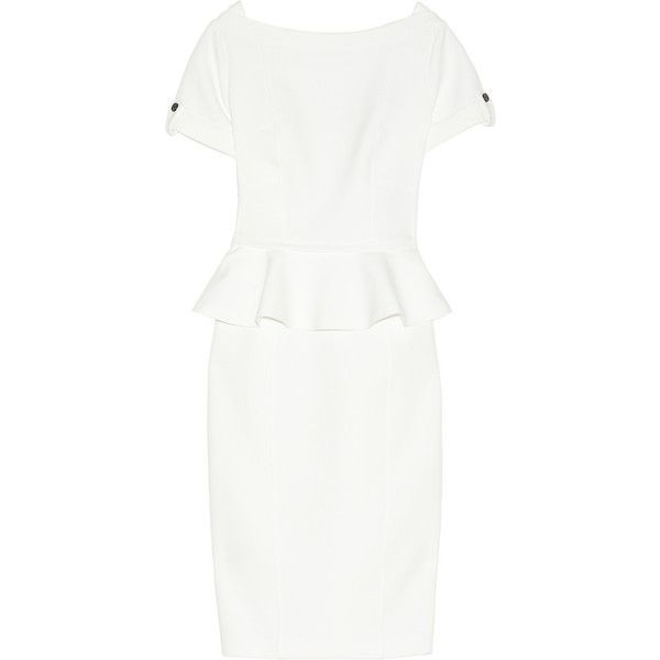 Burberry London Woven peplum dress (12 325 UAH) ❤ liked on Polyvore featuring dresses, burberry, day dresses, white day dress, white peplum dresses, white zipper dress, woven dress and lined dress
