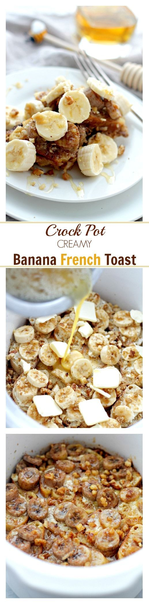 Crock Pot Creamy Banana French Toast   www.diethood.com   Full of amazing flavors, this French Toast is loaded with bananas and it's baked in the Crock Pot. Much easier than slaving over the stove!