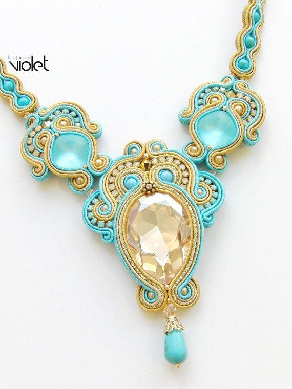 Soutache Necklace Macaw от Violetbijoux на Etsy