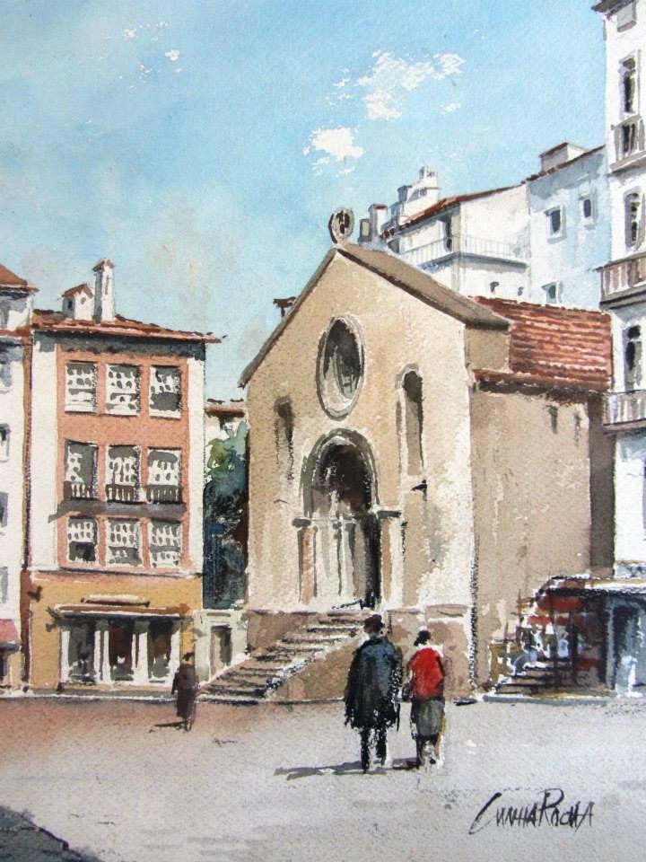 Cunha Rocha - Aguarela - Igreja de S. Tiago - Coimbra