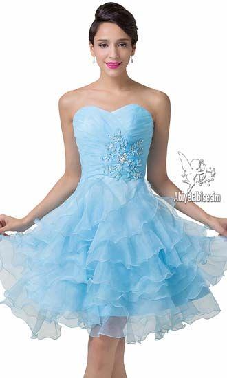 Kısa abiye elbise strapless taşlı göğüs işlemeleri harika mavi renk,abiye elbise,kısa abiye modelleri