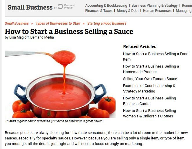 How to start a business selling a sauce