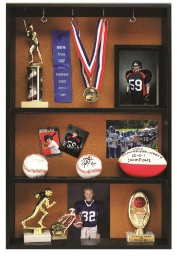 Pinnacle Black Trophy Case by Pinnacle. $59.96. Black wood case with cork display area, shelves and hooks. Great for any room. Black trophy case. Proudly display all of those trophies and medals earned by your athlete each year. Approximately 30 to 40 million children are involved in organized sports each year.  Pinnacle's trophy case provides the perfect way to organize all of their successes.