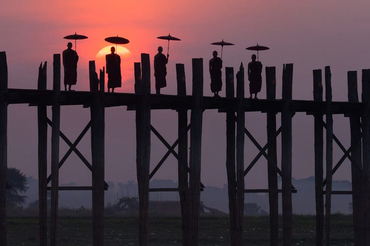 Monks on the U Bein Bridge, Amarapura, Myanmar by Mint Images on 500px