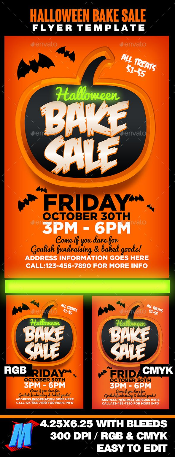 halloween bake sale flyer template flyer template flyers and halloween. Black Bedroom Furniture Sets. Home Design Ideas