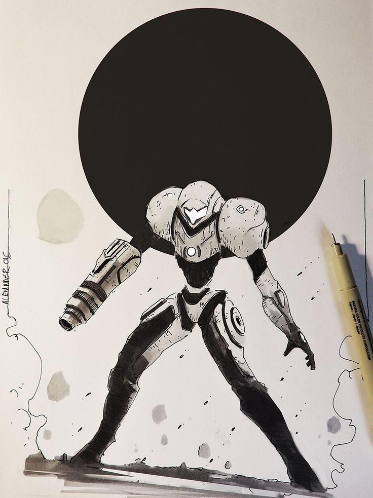 Metroid and other Sketches, Alexander J on ArtStation at https://www.artstation.com/artwork/v01GD