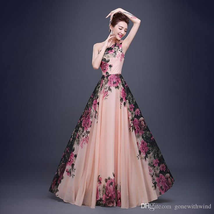 2016 New Arrival Long Flora Bridesmaid/Prom Dresses For Wedding Guest Dresses Print Chiffon Maxi Dresses Long Skirts Long Gown Maternity Bridesmaid Dresses From Gonewithwind, $65.33| Dhgate.Com