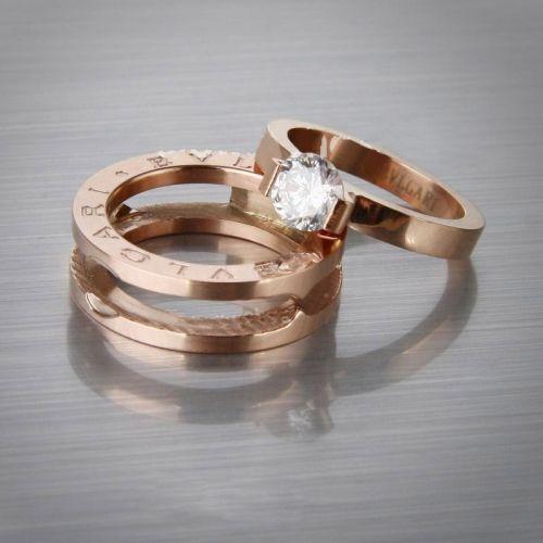 bvlgari bvlgari zero1 ring collection in rose gold plated with diamond