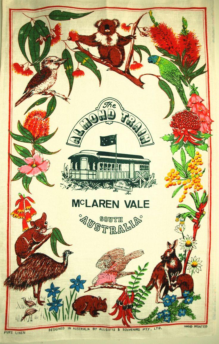 The Almond Train McLaren Vale Tea Towel - 70s Vintage Polish Linen Wineries South Australia - New Old Stock by FunkyKoala on Etsy