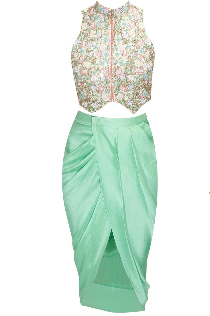 Mint green and pink sequence floral embroidered jacket choli with mint green mirror embellished dhoti wrap skirt available only at Pernia's Pop-Up Shop.