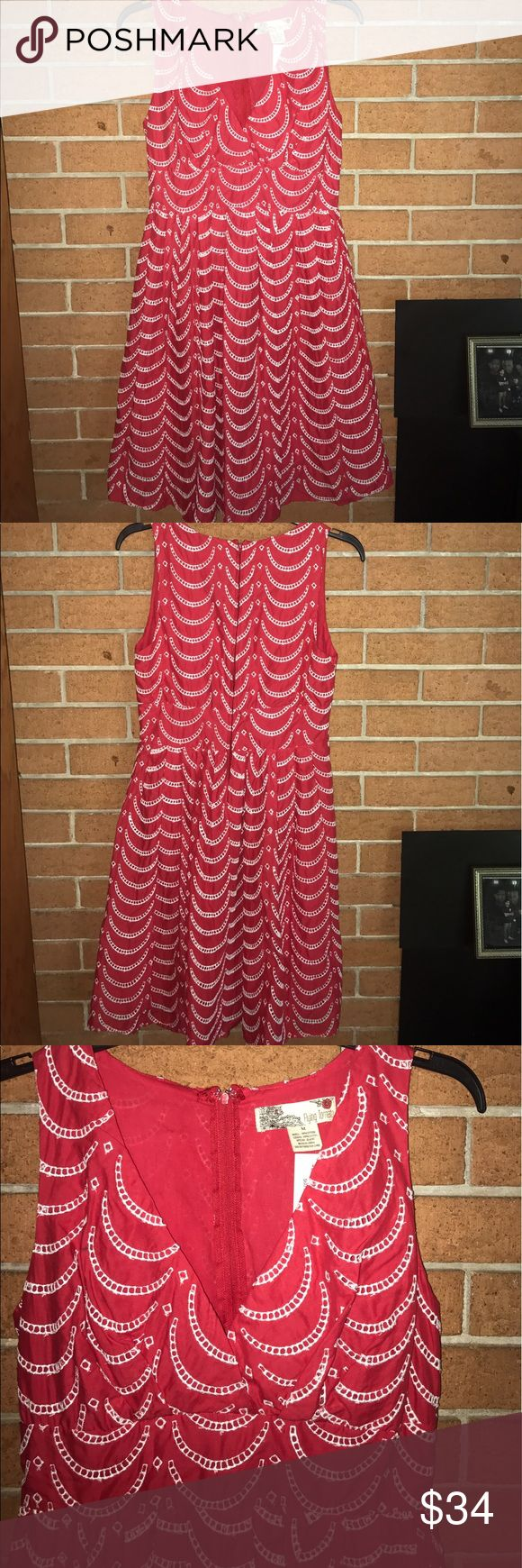 """🌹NWT FLYING TOMATO🌹SCALLOP EYELET DRESS🌹 Flying tomato scallop fit and flare dress banded waist for extra shape definition back hidden zipper. Eye and hook closure. Fully lined. 100% cotton colors red and white. Originally purchased from a boutique. Measured flat bust 17"""" waist 14 1/2""""hips free length 37 1/2"""" although it is new and has loose threads on different eyelets see last photo for example🌹NWT FLYING TOMATO🌹SCALLOP EYELET DRESS🌹 Flying Tomato Dresses Midi"""