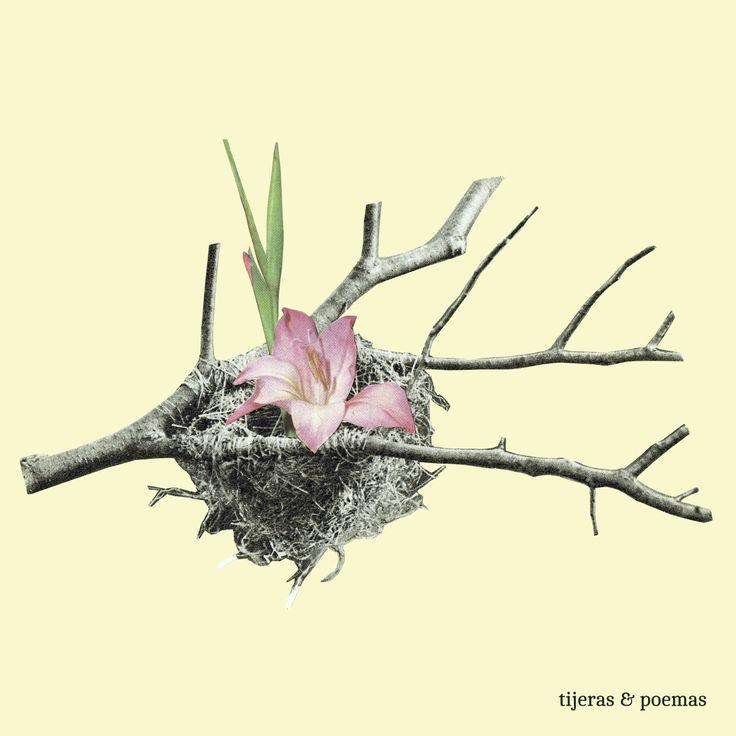 """Collage """"Hello spring"""" by Tijeras y Poemas (Ana Lorente).  #collage #tijerasypoemas #spring #flowers"""