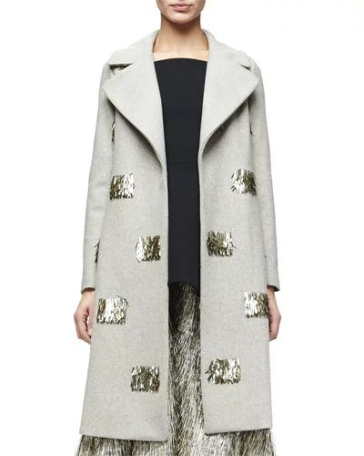 B3AY7 Lela Rose Metallic Fringe-Embellished Long Coat, Taupe/Gold