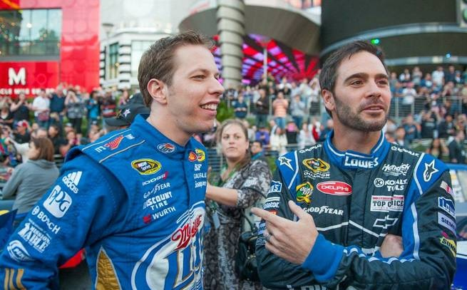Brad Keselowski and Jimmie Johnson at the Victory Lap of 2012 NASCAR Champion's Week on the Strip on Thursday, Nov. 29, 2012.