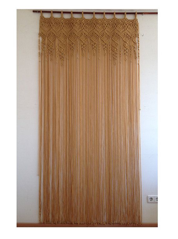 Macrame Curtain Made With Beige Polypropylene Cord 4