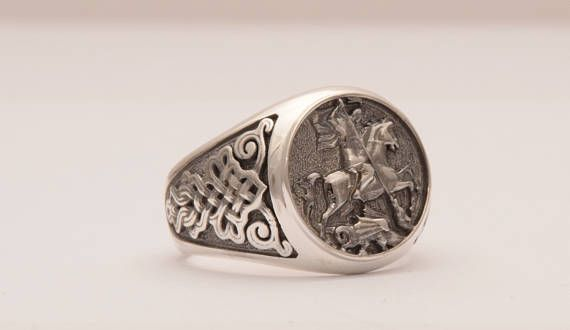 Silver 925 Signet Ring Mens Signet Ring Saint George Ring