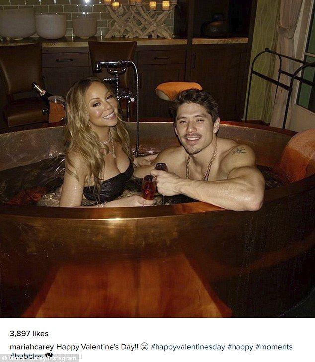 Hot date! Mariah Carey and her backup dancer beauBryan Tanaka enjoyed a romantic Valentin...