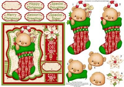 TED S CHRISTMAS STOCKING Card Topper Decoupage on Craftsuprint designed by Janet Briggs - Cute Christmas card topper with 3d step by step decoupage.Features a cute bear in a Christmas stocking.Several sentiment tags, including one blank. The others read,Happy ChristmasSpecial DaughterMerry ChristmasSeason's GreetingsSpecial Sister - Now available for download!