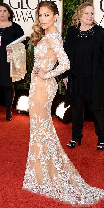 Jennifer Lopez chose a nude Zuhair Murad gown with lace embellishment.