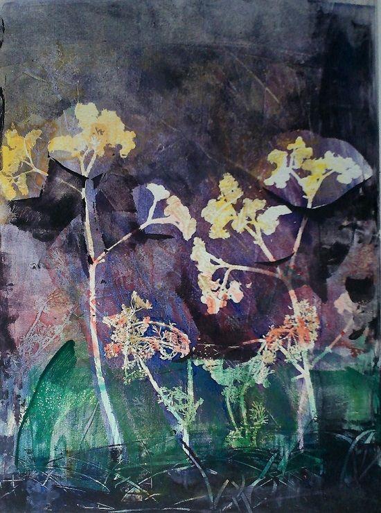"""Original monotype print by April Jordan. """"Bouquet."""""""