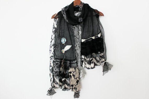 Black scarf Black linen scarf Black Women Shawl Black scarf