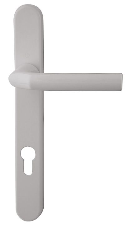 Hoppe Birmingham White Multipoint Handles 92mm Centres White powder coated finish cast aluminium multipoint handle on a pressed backplate. Suitable for use on composite and PVCu doors up to 70mm thick. The distance between the centre of the spindle to the http://www.MightGet.com/january-2017-12/hoppe-birmingham-white-multipoint-handles-92mm-centres.asp