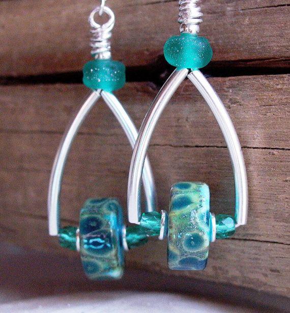 Teal And Turquoise Lampwork Gl Wheel Sterling By Splashings 48 00 Bead Earringsbead Jewellerybeaded Jewelryhandmade