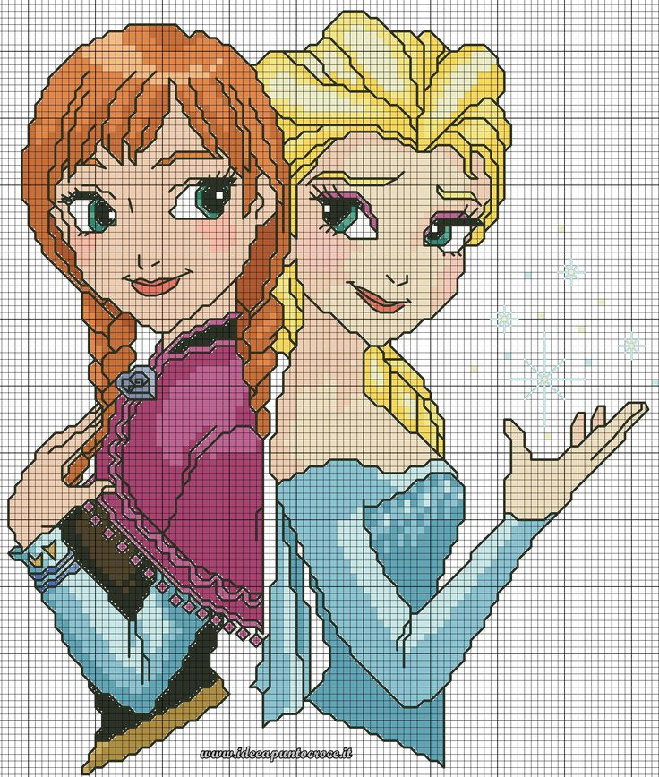 schema punto croce Elsa e Anna Frozen