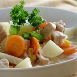 Turkey breast meat and fresh vegetables are cooked up into a hearty stew that may be enjoyed any time of year.