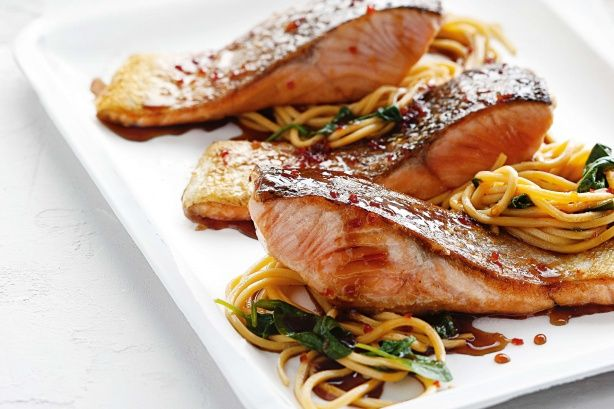 Chilli soy salmon with wok-fried noodles main image