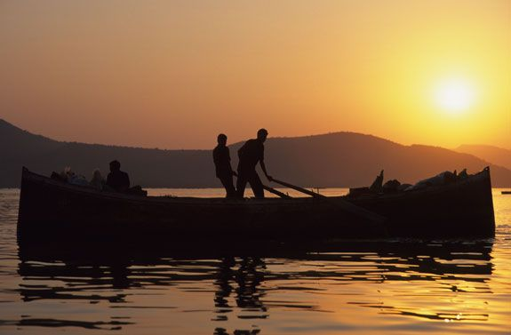 indian sunset at lake pichola