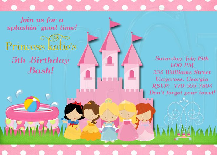 princess pool party | Princess Pool Party InvitationDigital File by graciegirldesigns77