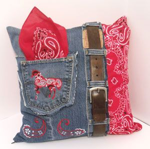 Fancy denim pillow, with embroidery, bandana, belt. VERY GOOD TUTORIAL with cutting instructions, piecing, everything you need to know! ******************************************** EmbroideryLibrary - #denim #upcycle #pillow #blue #jeans #sewing #crafts - t√