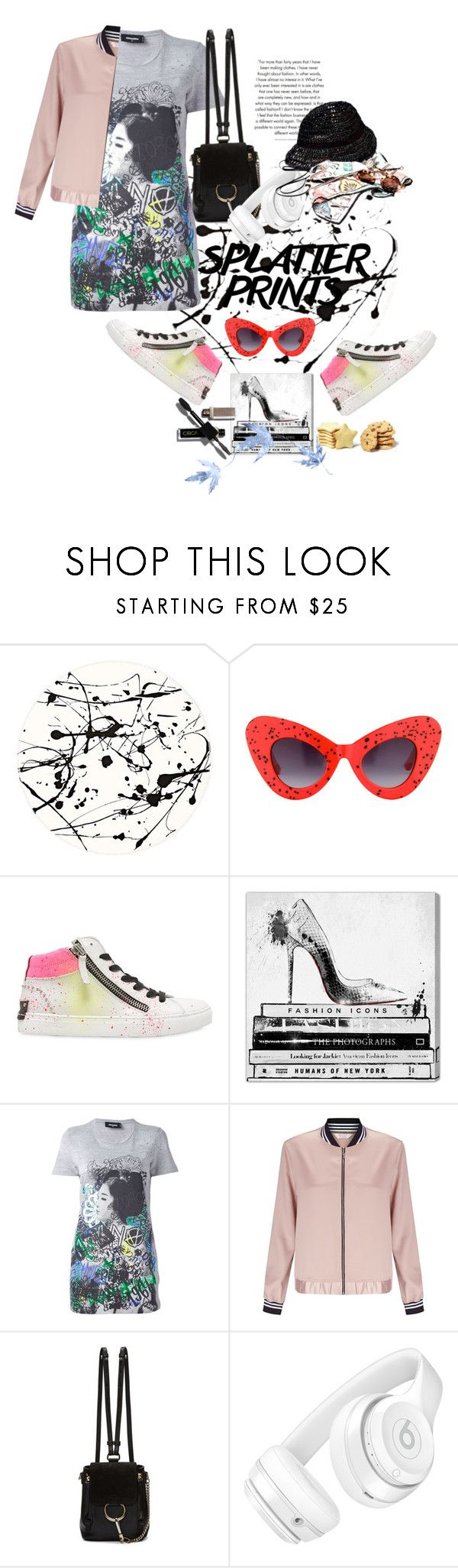"""Splatter Splash!"" by wodecai ❤ liked on Polyvore featuring Lisa Perry, Jeremy Scott, Crime, Oliver Gal Artist Co., Dsquared2, Miss Selfridge, Chloé and Beats by Dr. Dre"