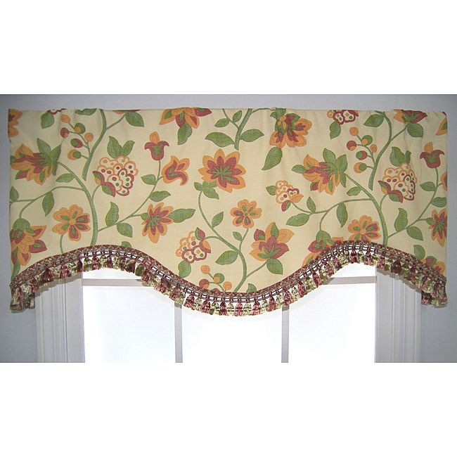 This transitional valance features a multicolor floral design agaisnt a cream background. This valance is finished with a tassel trim along the bottom edge.