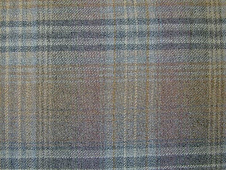 Curtain Fabric Wool Tartan Mauve Grey Check Plaid Tweed Upholstery