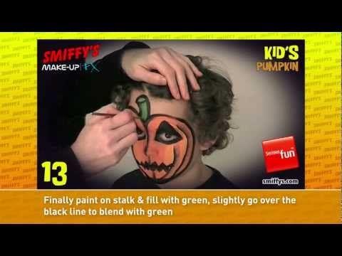 Pumpkin Halloween Face Painting Make-up Tutorials for Children