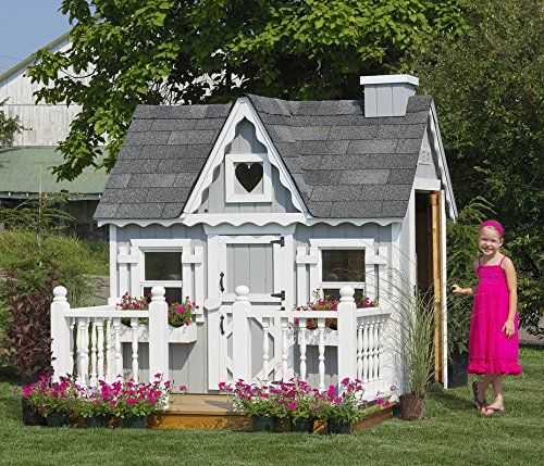 Little Cottage Company Victorian DIY Playhouse Kit, 4' x 6'. One of Six in The Village Collection. Can Connect With Other Village Playhouses. Commercial Units are 10' W X 12' D.