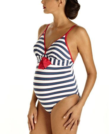 Take a look at this Marine Shimmer Maternity One-Piece by Pez D'Or on #zulily today!