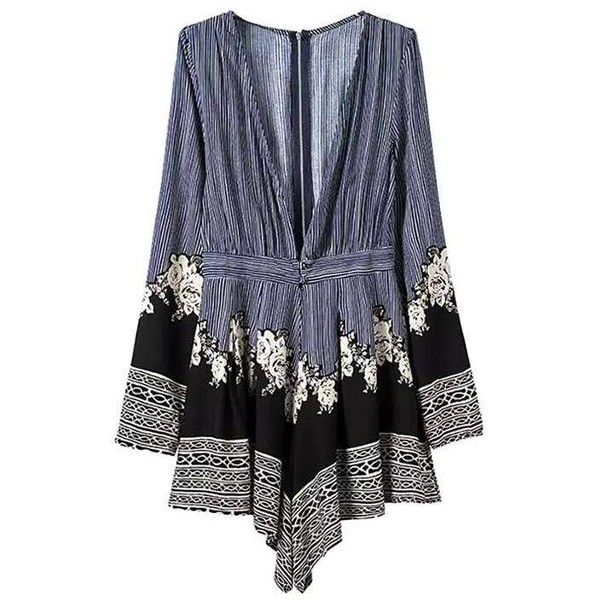 Yoins Yoins Deep V Neck Long Sleeve Playsuit ($18) ❤ liked on Polyvore featuring jumpsuits, rompers, blue, jumpsuits & rompers, floral jumpsuit, floral romper, blue rompers and floral print romper