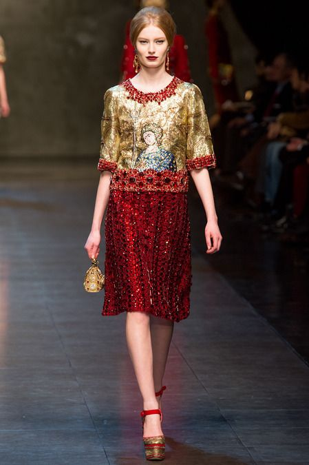 Domenico Dolce and Stefano Gabbana used the golden mosaics of Sicily's Cathedral of Monreale as a starting point for their new Fall collection. 2013