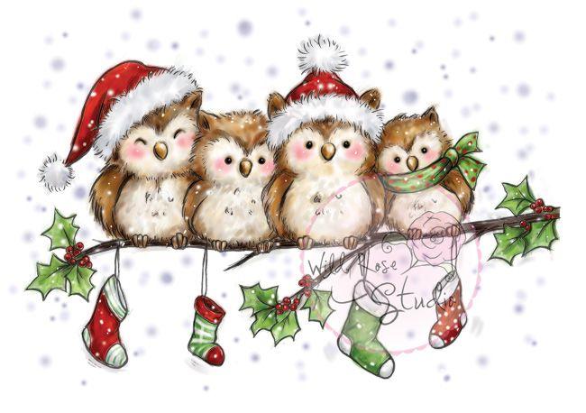 Wild Rose Studio - Owls on Branch - bjl
