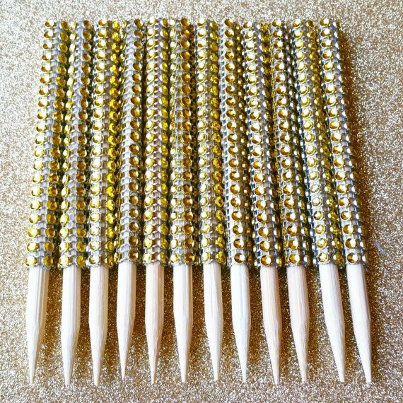 Candy Apple Sticks Gold Bling Candy Apple Sticks Gold Bling Skewers Bling Candy Buffet Supplies Dessert Buffet Sticks Bling Rhinestone Stick