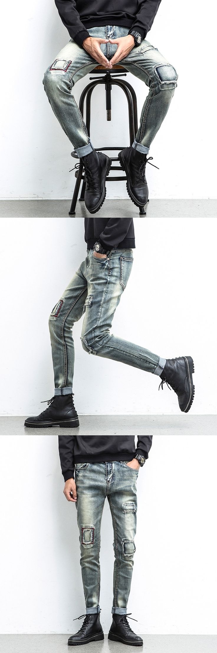 NEW Patch Jeans Men Skinny Casual Cotton Classic Ripped Denim For Men Straight Slim Fit Plus Size Blue Rap Harajuku Biker Jeans