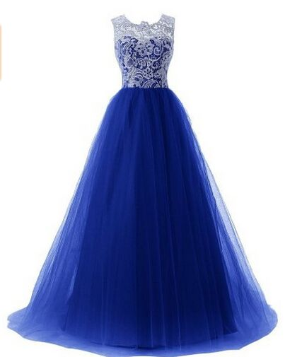 Gorgeous Royal Blue Puffy Lace Tulle Prom Gowns 2016