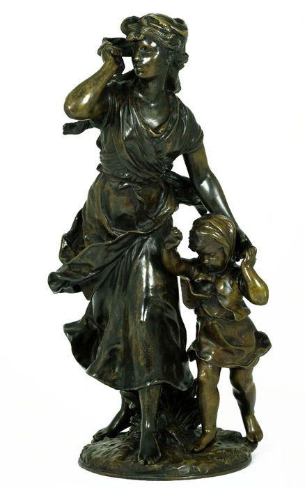 Hippolyte François Moreau (1832-1927) - Groot bronzen sculptuur van moeder met kind - Frankrijk - eind 19e eeuw - Catawiki