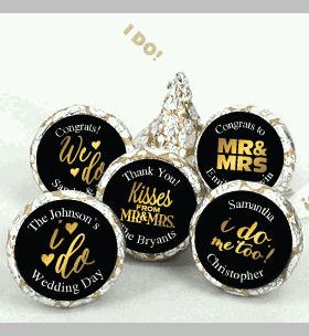 Gold Foil Personalized Hershey Kisses Wedding Favors