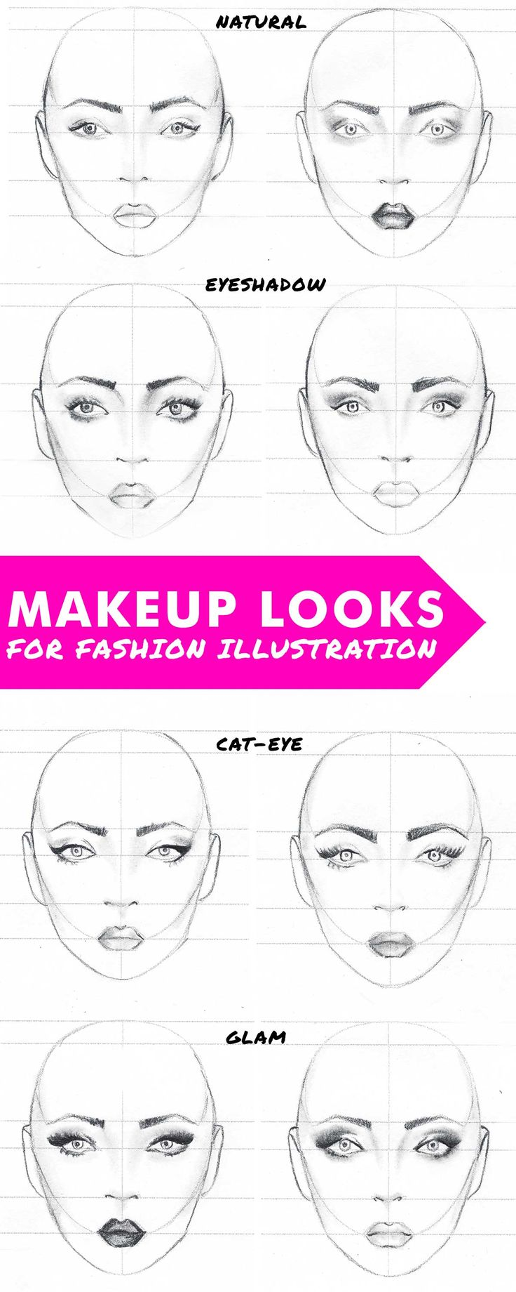 Makeup looks for fashion illustration. Free template for drawing the face on the fashion figure. Step-by-step guide on how to draw the face.